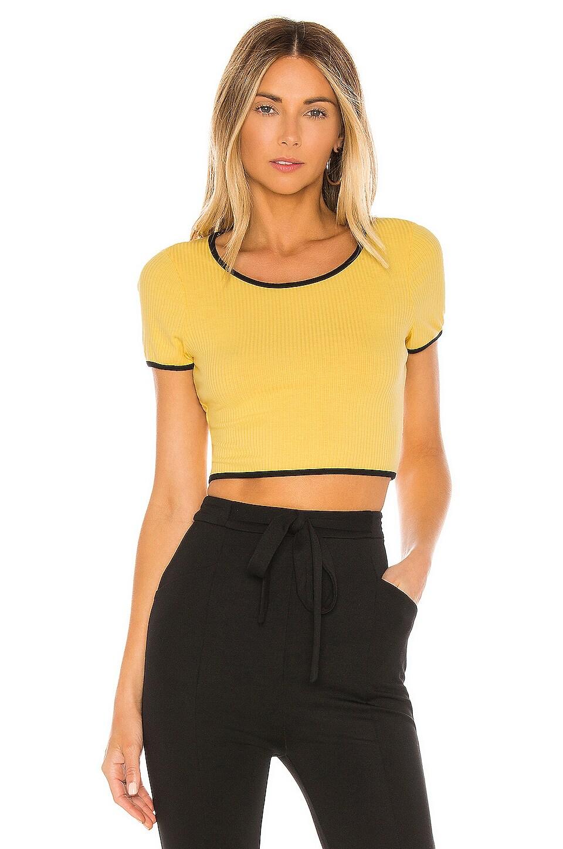 superdown Jolie Crop Top in Yellow & Black