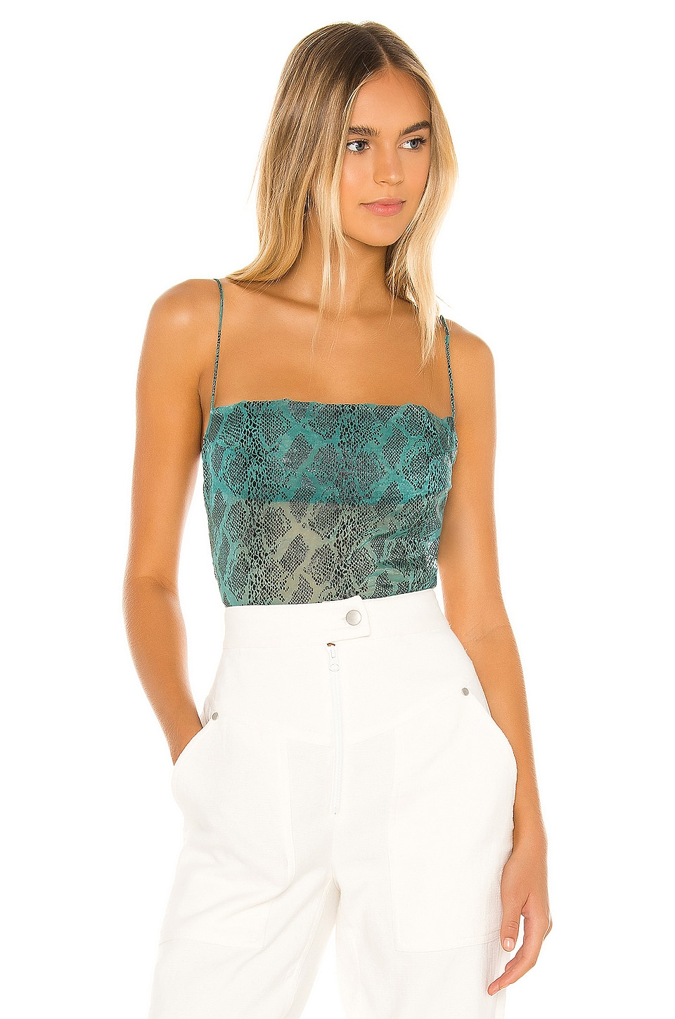 superdown Becca Square Neck Top in Teal Snake