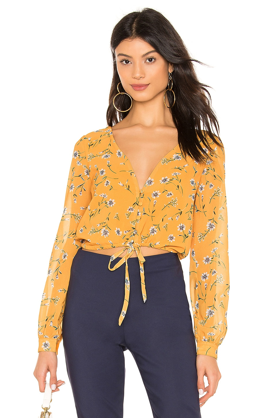 superdown Selena Tie Front Top in Yellow Floral