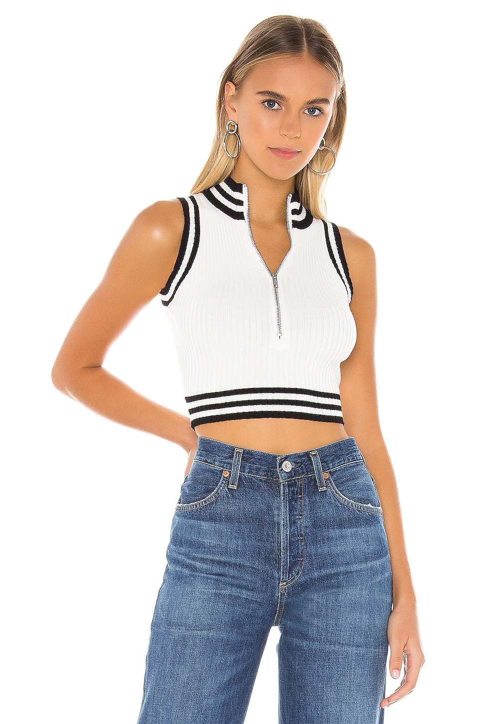 superdown Kelsie Ribbed Crop Top in White & Black