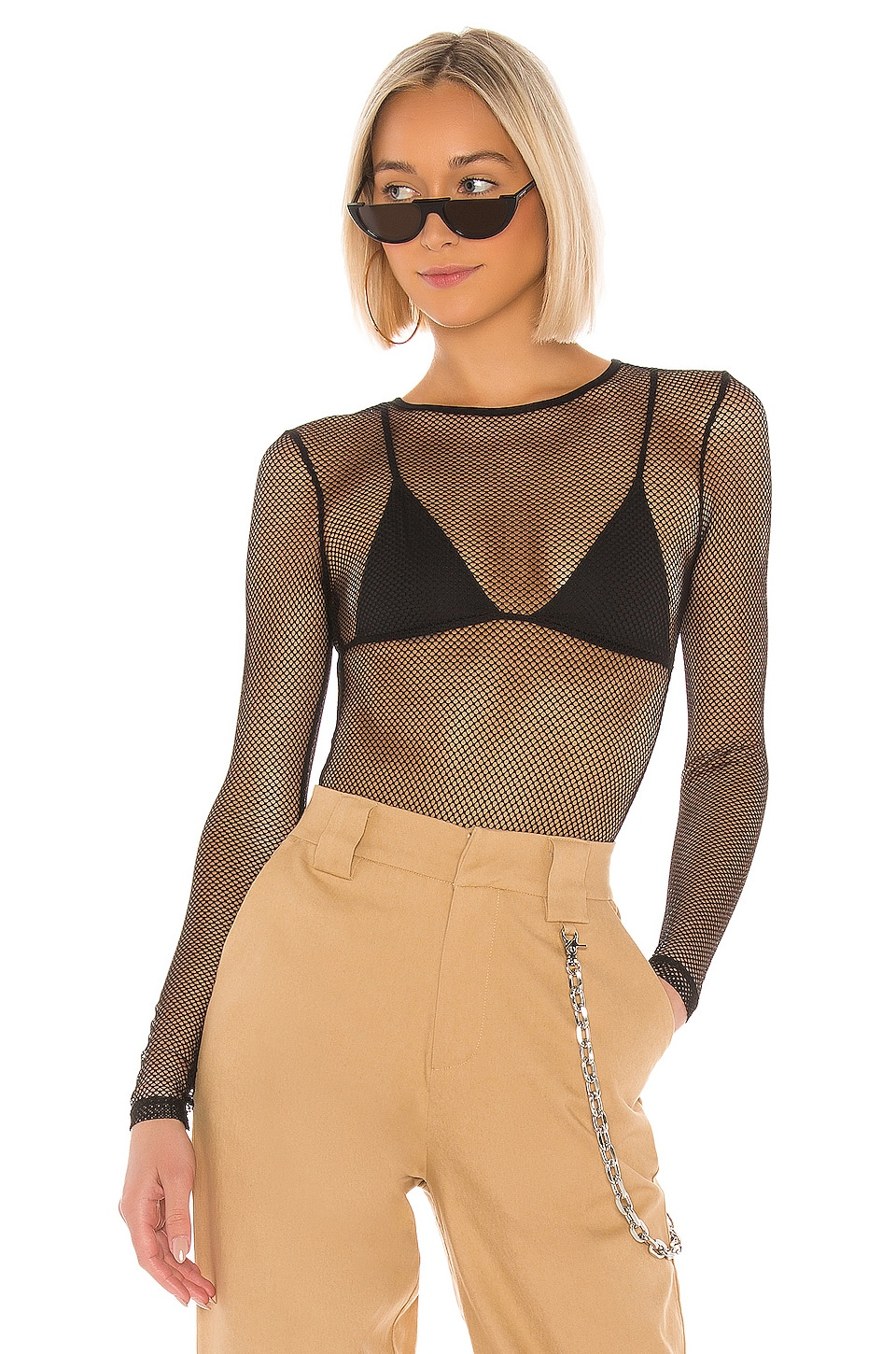superdown Tyarra Fishnet Bodysuit in Black
