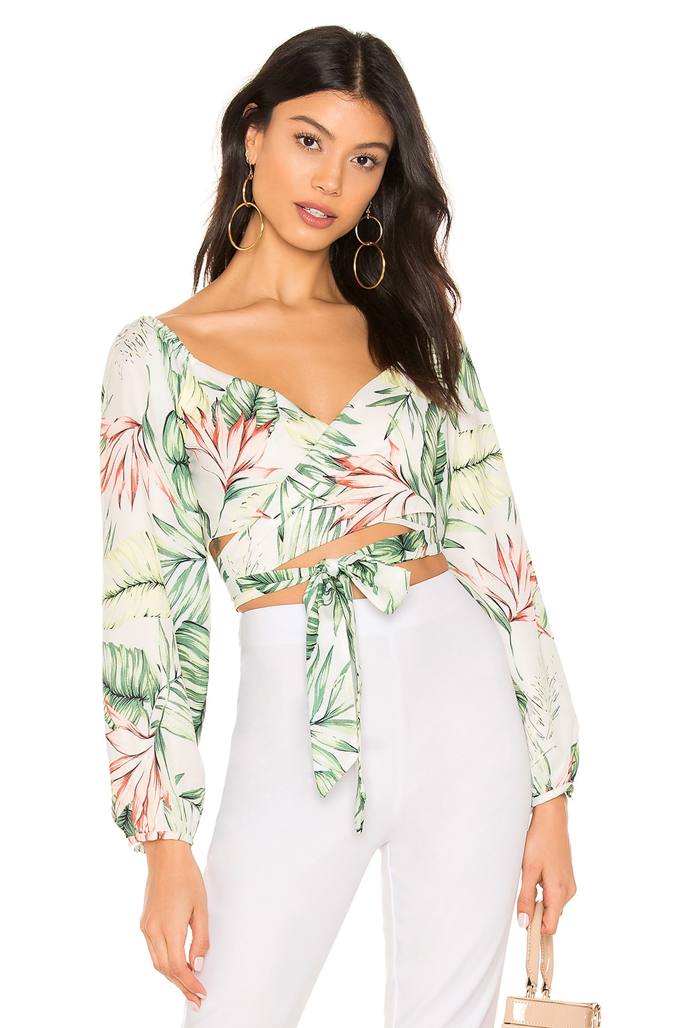 superdown Piper Puff Sleeve Wrap Top in Tropical Multi