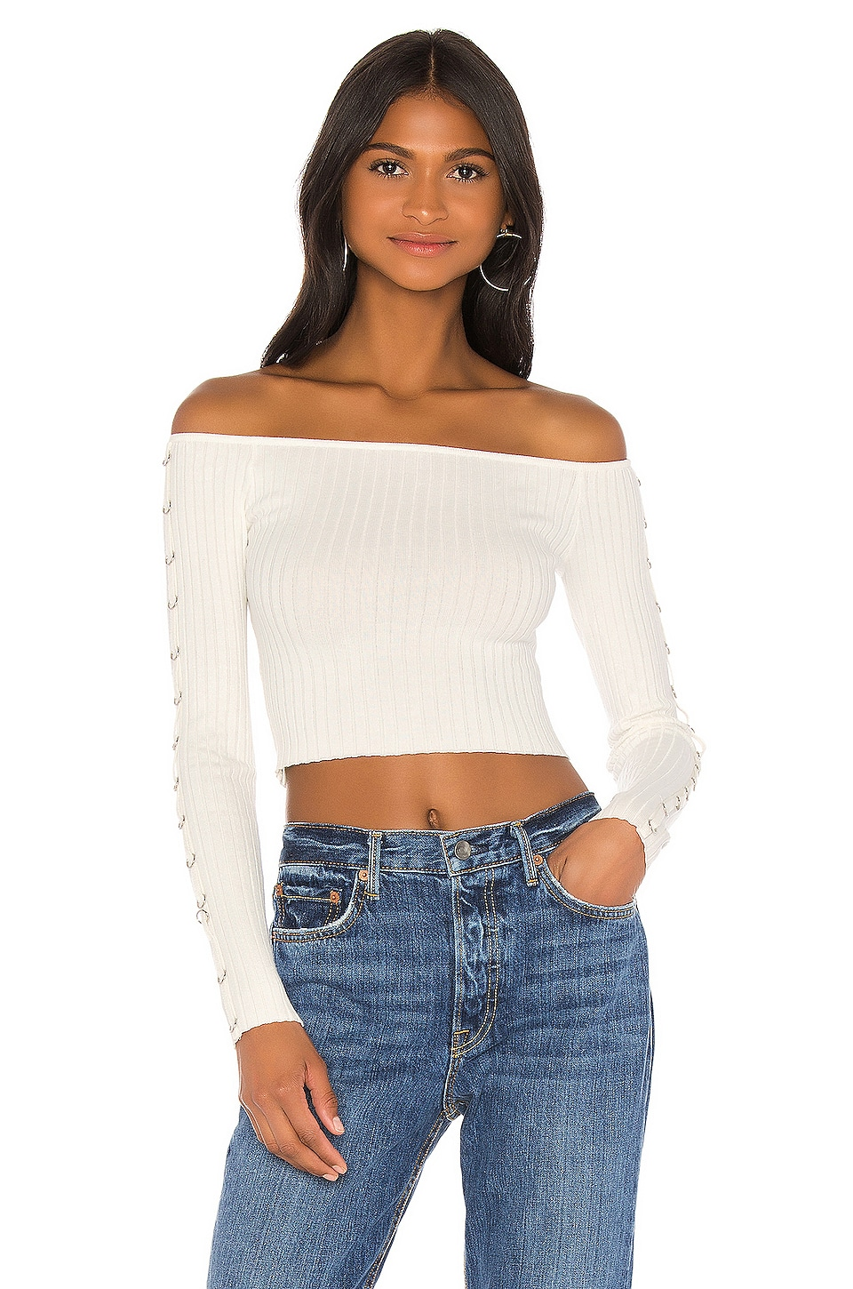 superdown Tamina Off Shoulder Top in Ivory