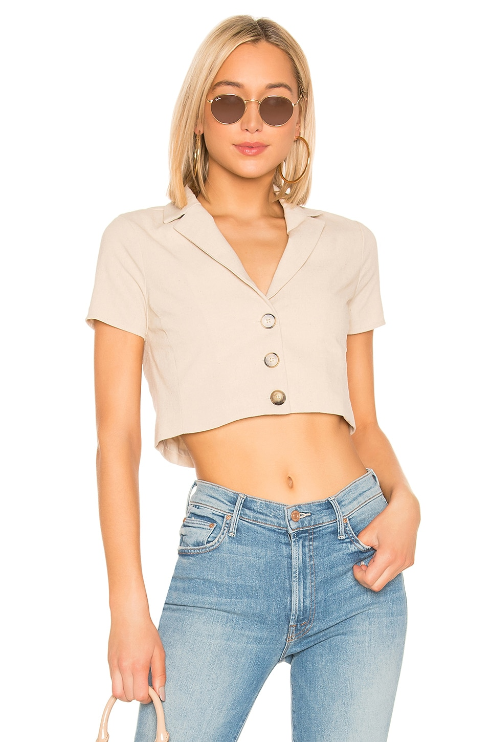 superdown Meg Button Up Top in Beige