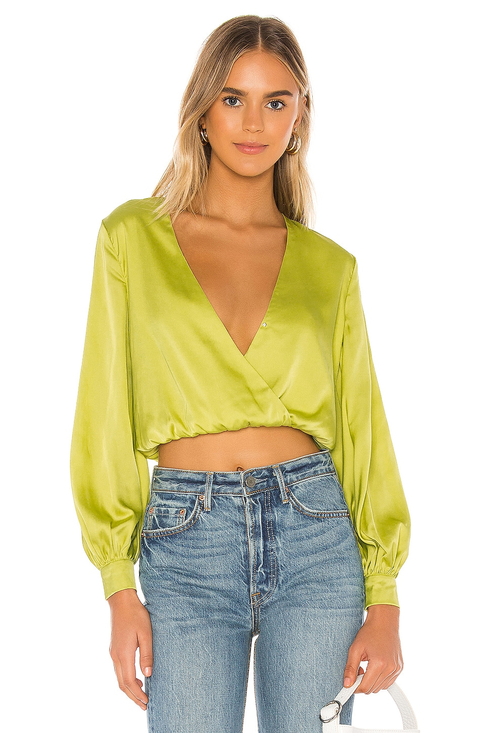 superdown Abigail Wrap Top in Lime