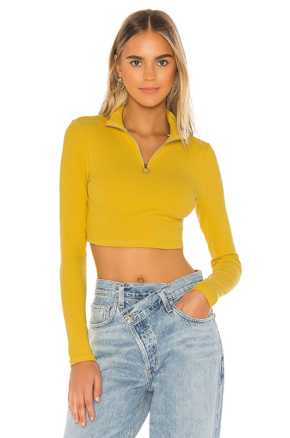 superdown Kamyla Half Zip Crop Top in Mustard