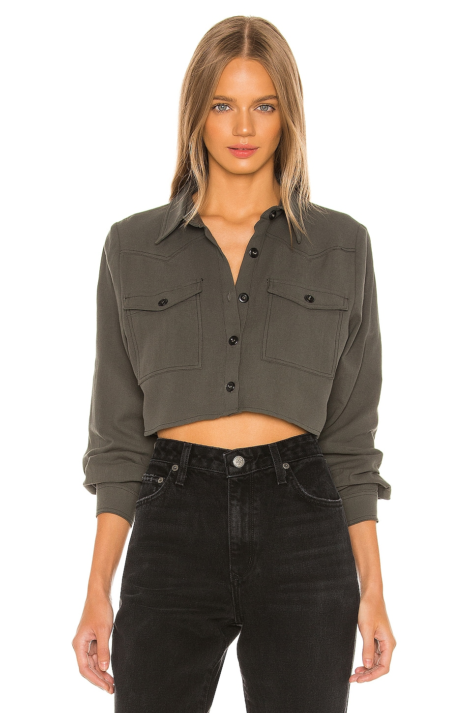 superdown Holly Button up Shirt in Olive Green