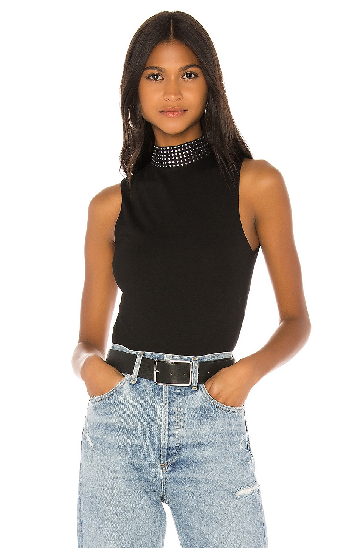 superdown Rochelle Studded Bodysuit in Black