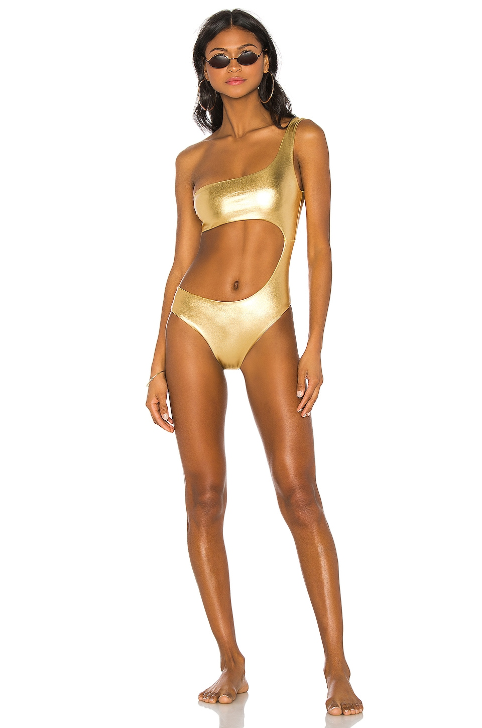 superdown x REVOLVE Nova Asymmetrical One Piece in Gold Metallic