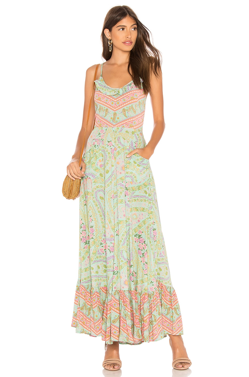 Spell & The Gypsy Collective City Lights Strappy Maxi en Sage