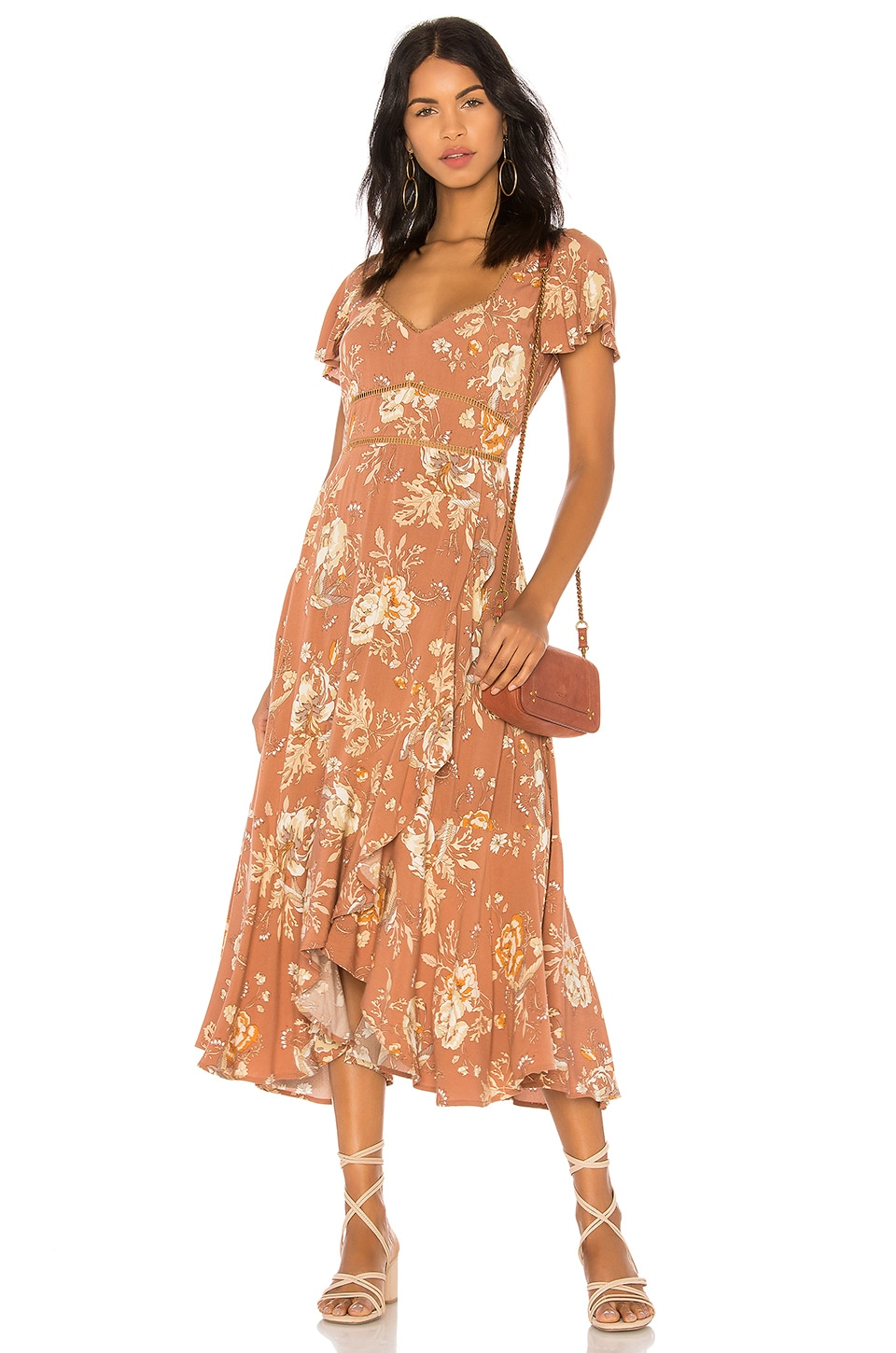 Spell & The Gypsy Collective Rosa Garden Party Dress in Camel