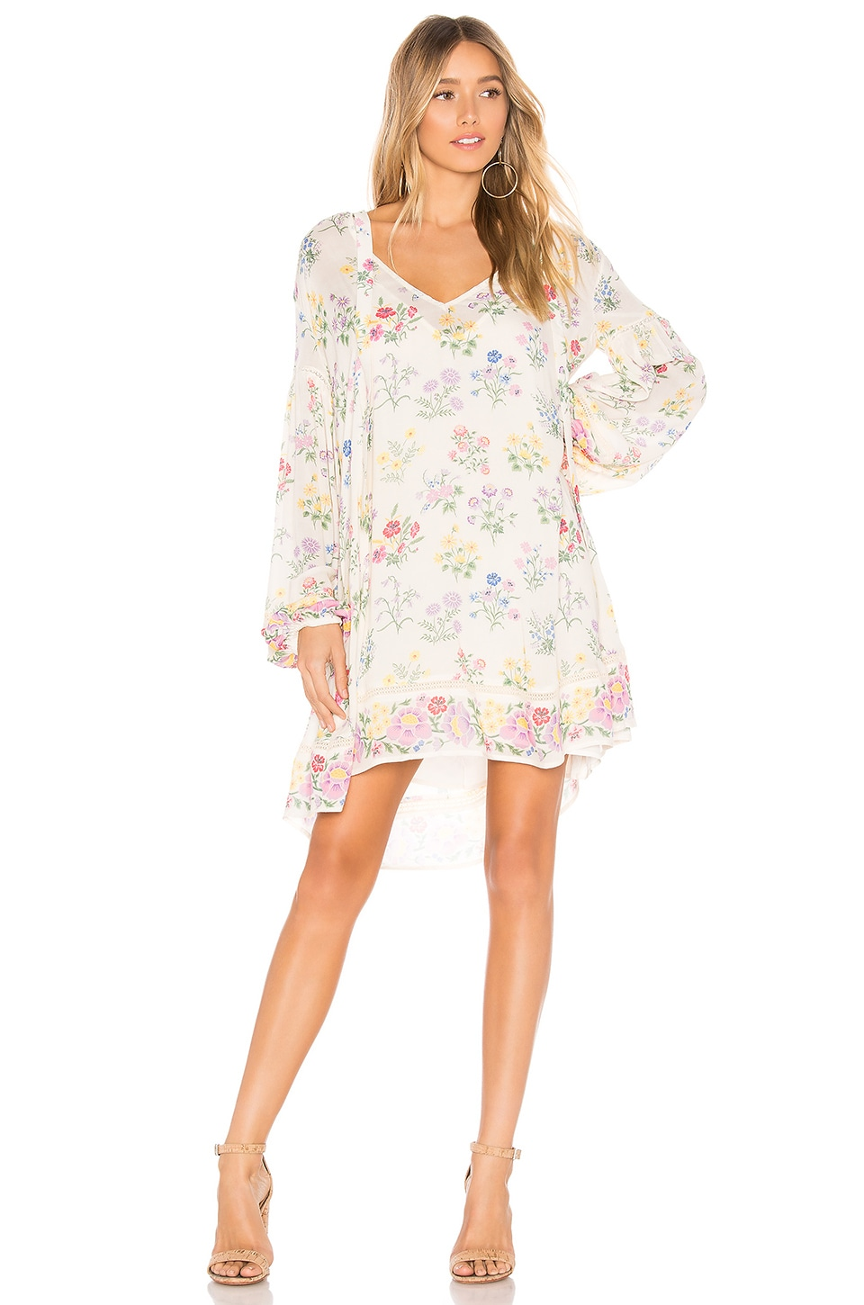 Spell & The Gypsy Collective Posy Long Sleeve Mini Dress in Gardenia