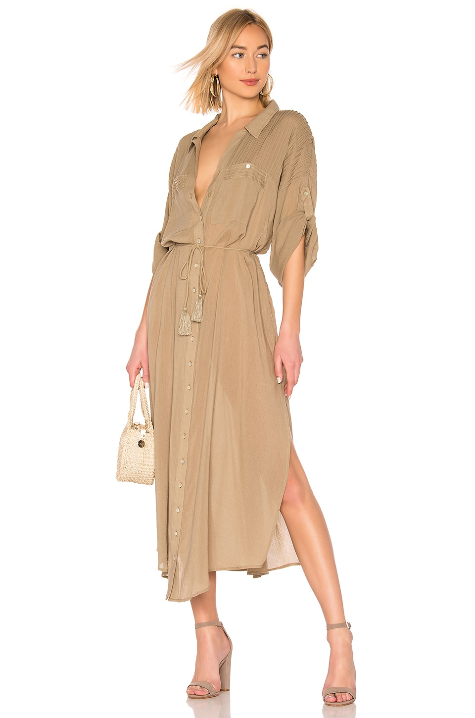 Spell & The Gypsy Collective Linda Shirt Dress in Khaki