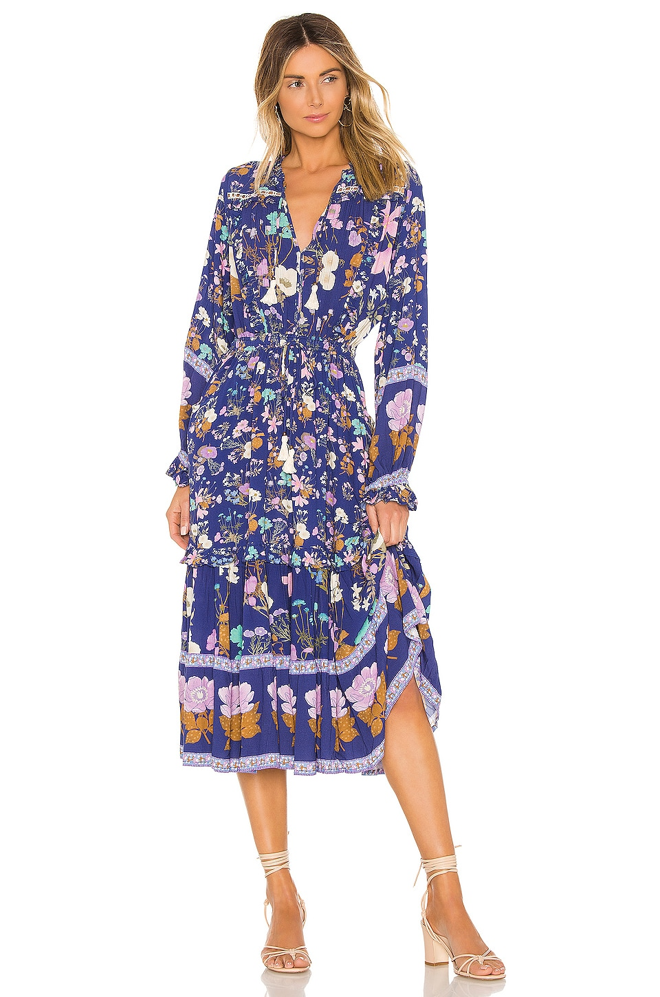 Spell & The Gypsy Collective Wild Bloom Midi Dress in Navy