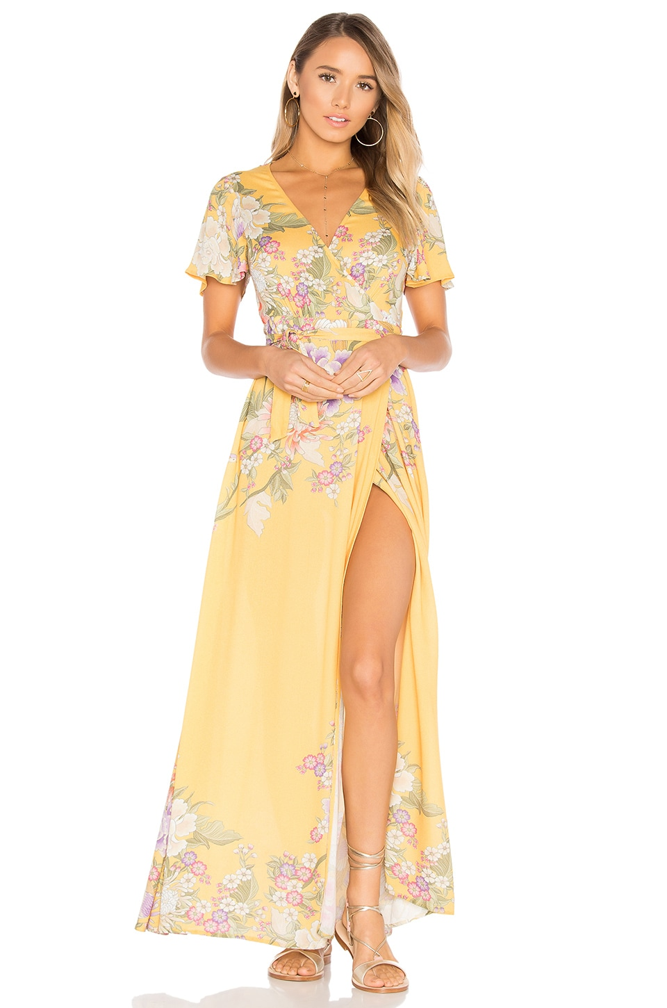 Spell & The Gypsy Collective Blue Skies Wrap Maxi Dress in Sunflower