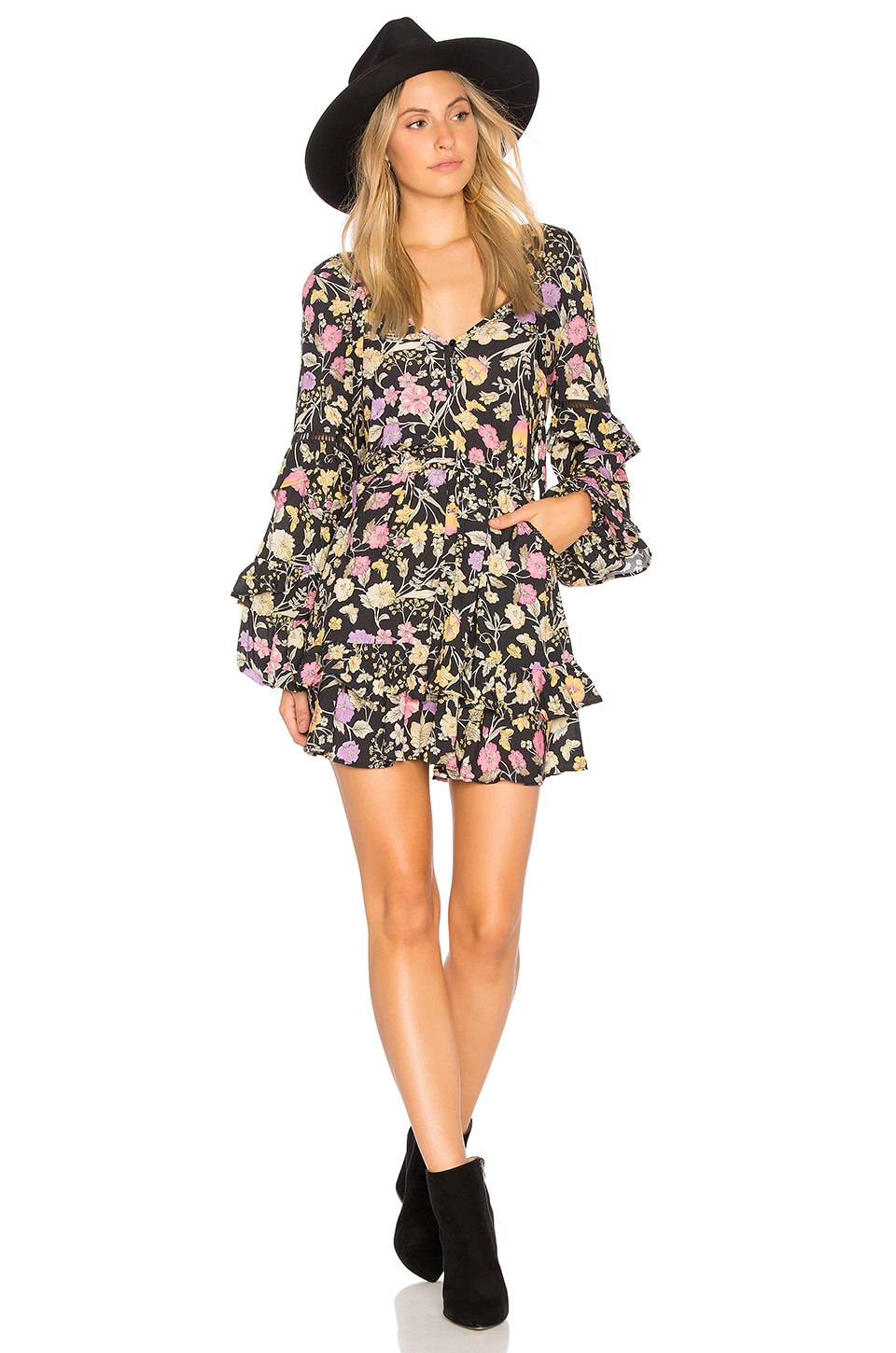 Spell & The Gypsy Collective Sayulita Frill Mini Dress in Nightshade