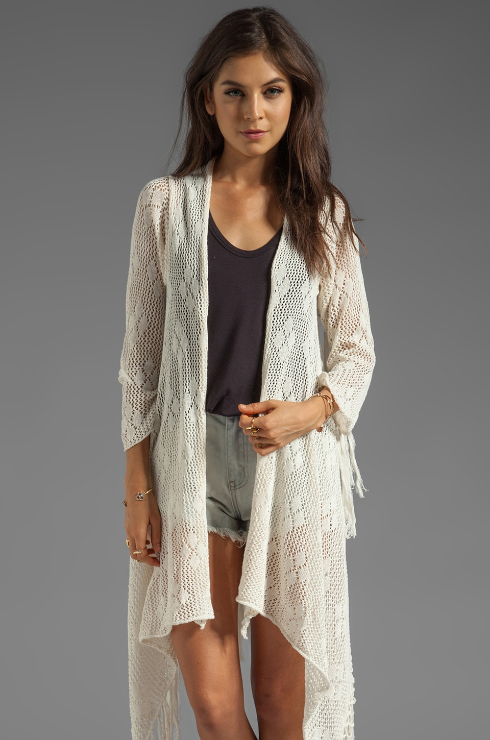 Spell & The Gypsy Collective Lola Tassel Coat in Off White