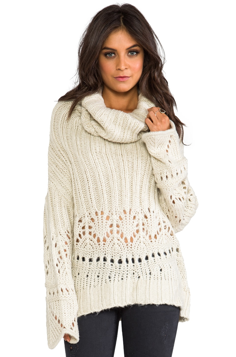 Spell & The Gypsy Collective La Luna Cowl Neck Jumper in Sand