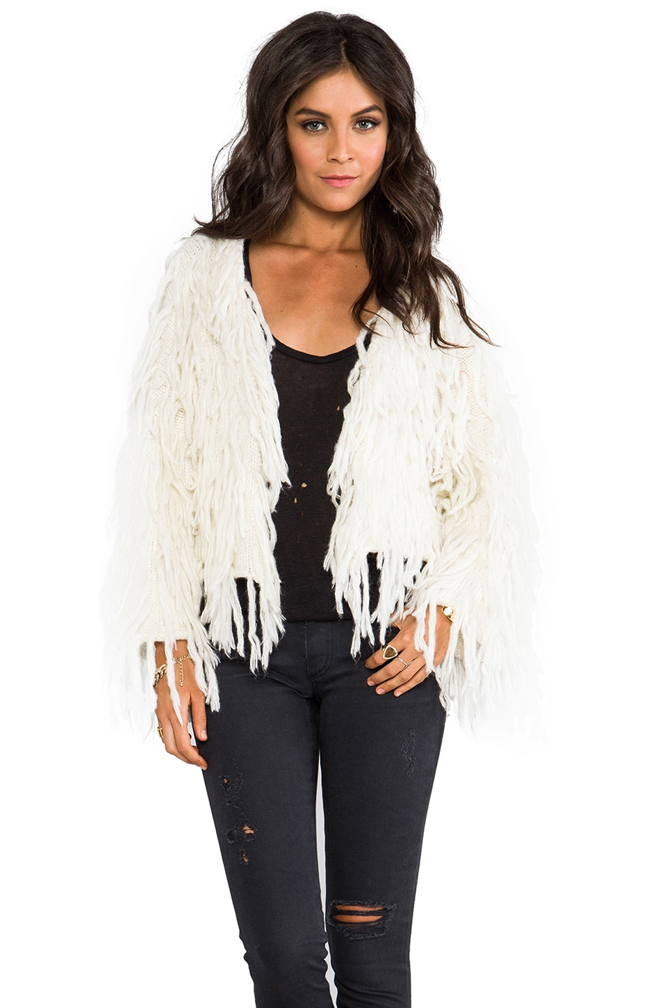 Spell & The Gypsy Collective Wolf Clan Fringe Cardigan in Cream