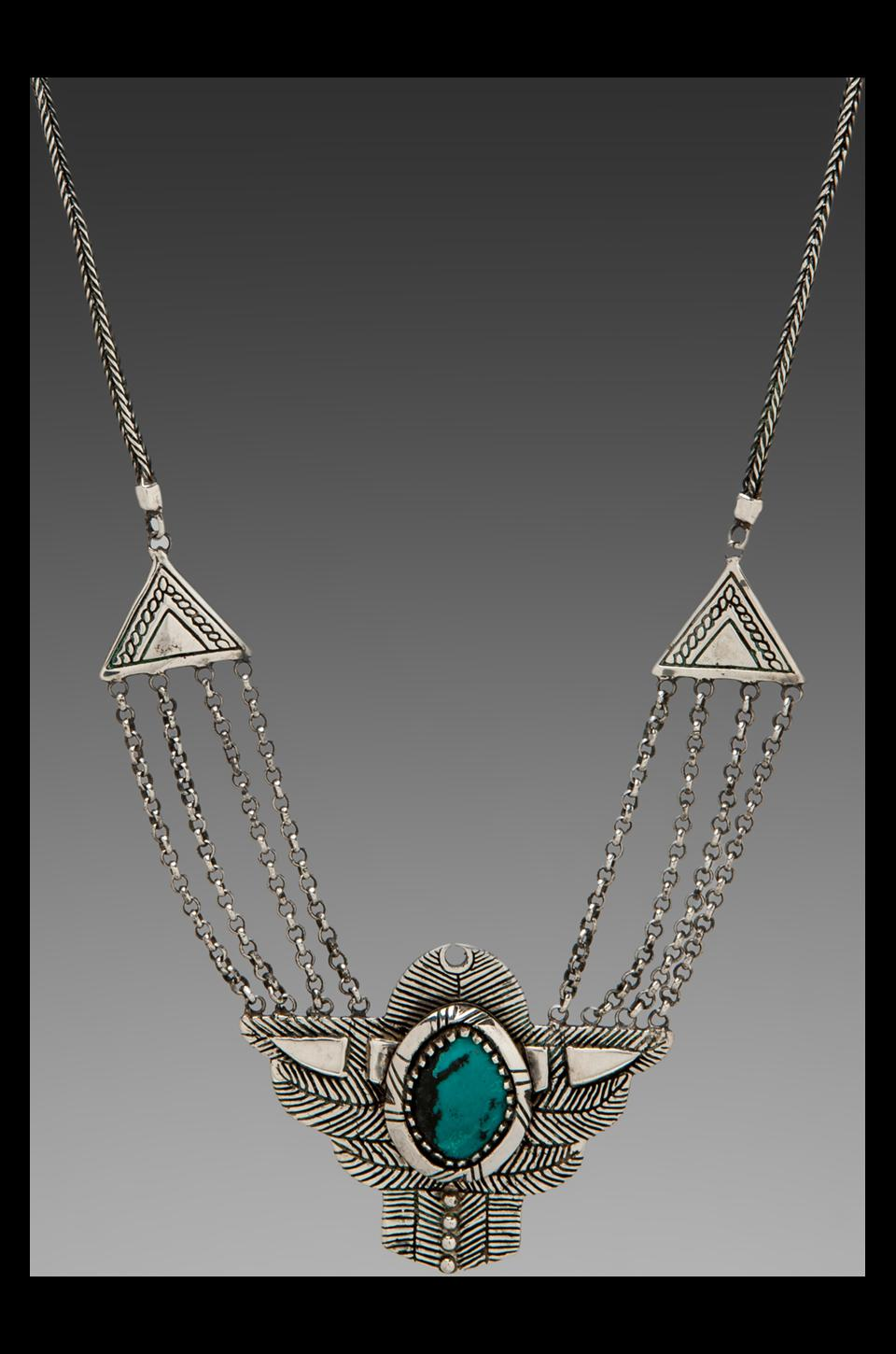 Spell & The Gypsy Collective Dark Side Of The Moon Necklace w/ Turquoise Stone in Silver