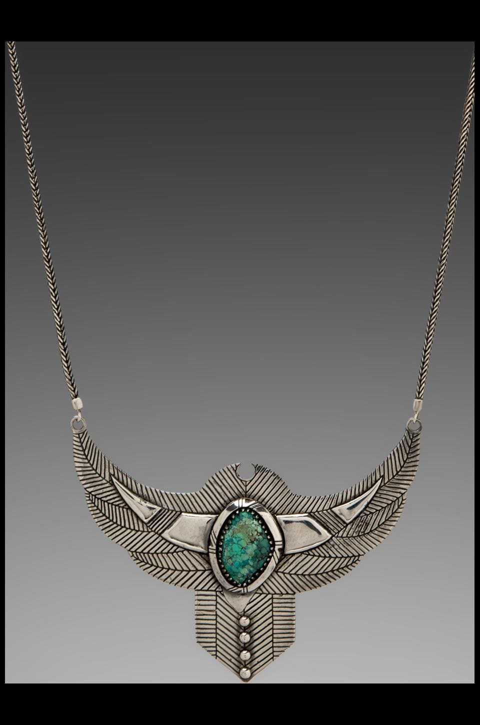 Spell & The Gypsy Collective Thunderstruck Crystal Chest Plate Necklace w/ Turquoise Stone in Silver