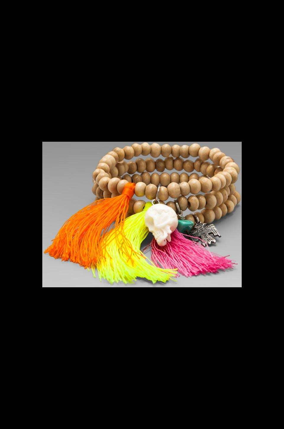 Spell & The Gypsy Collective Fluro Voodoo Trilogy Feather Bracelet in Multi
