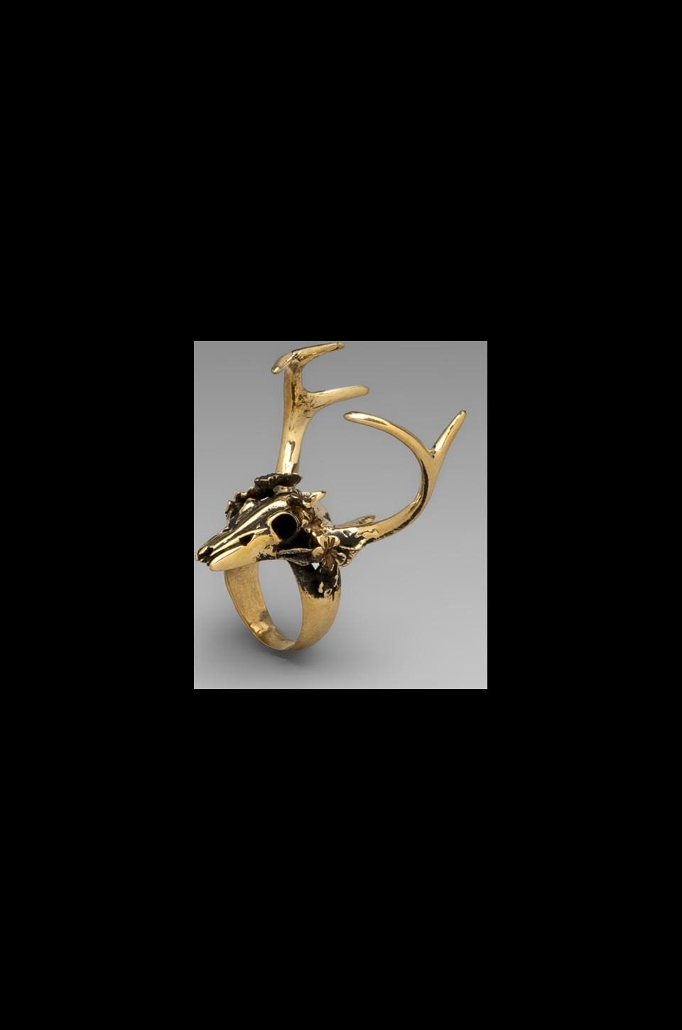 Spell & The Gypsy Collective Stag Amulet Ring in Brass
