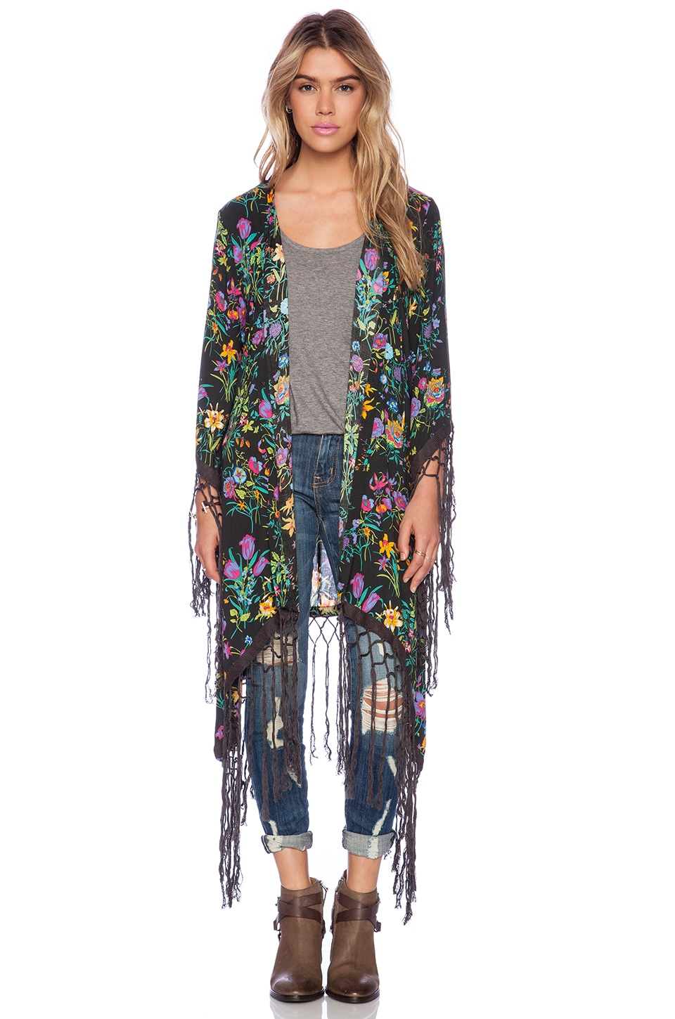Spell & The Gypsy Collective Gypsy Queen Tassel Kimono en Black Floral