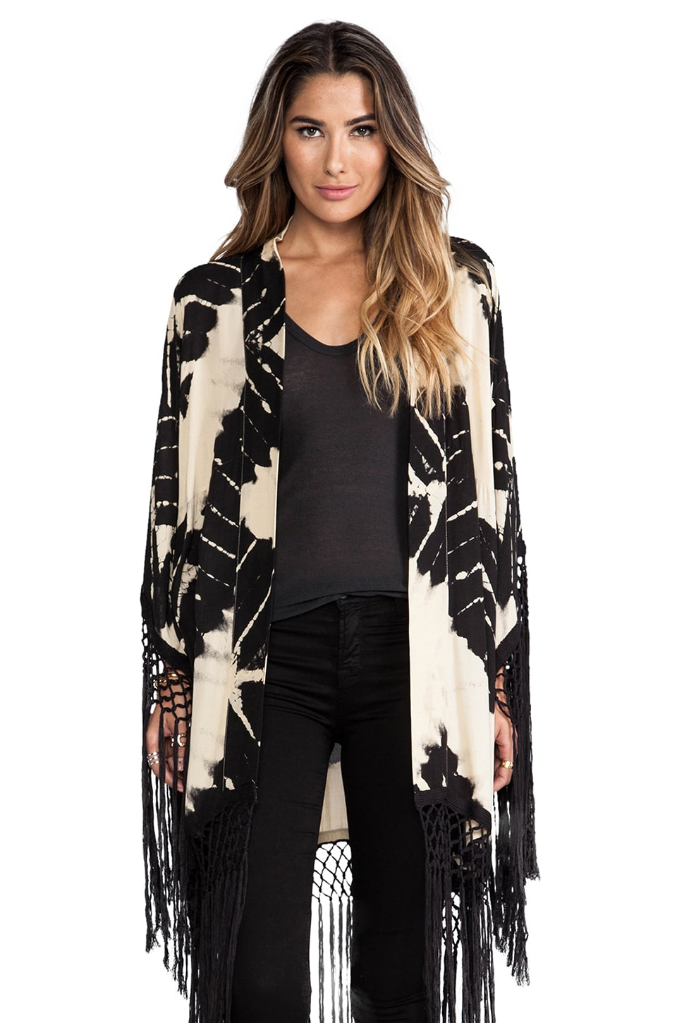 Spell & The Gypsy Collective Storm Tassel Kimono in Tie Dye