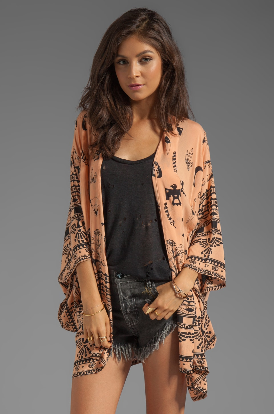 Spell & The Gypsy Collective Boho Tribal Kimono in Peach