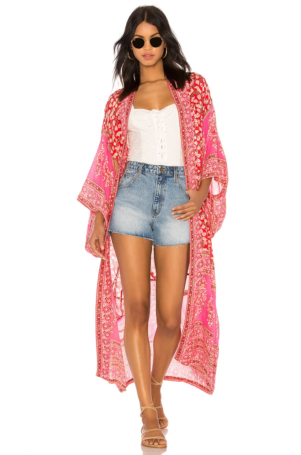 Spell & The Gypsy Collective Delirium Kimono in Red Coral