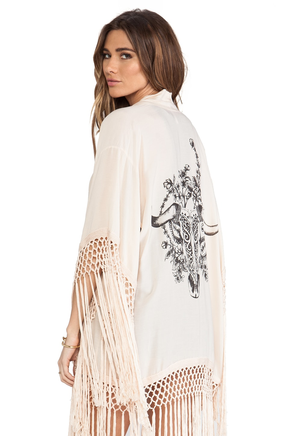 Spell & The Gypsy Collective Indian Summer Tassel Kimono in Champagne