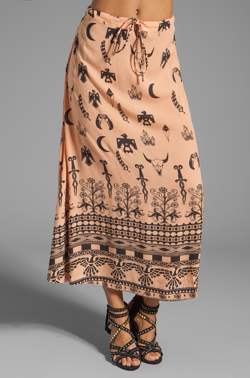Spell & The Gypsy Collective Boho Tribal Maxi Skirt in Peach