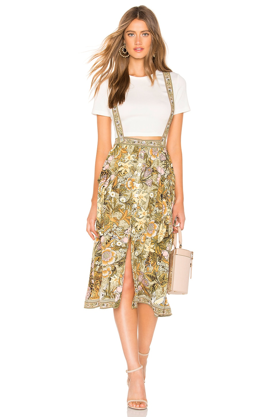 Spell & The Gypsy Collective Jungle Midi Skirt in Khaki