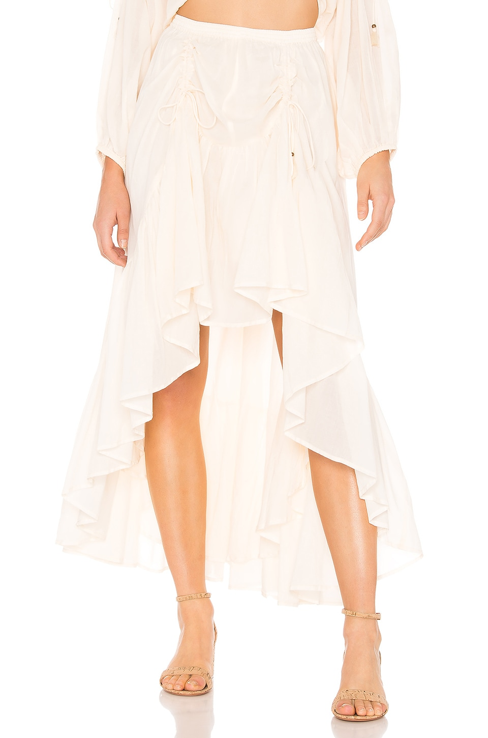 Spell & The Gypsy Collective Seashell Organic Ruched Skirt in Ivory