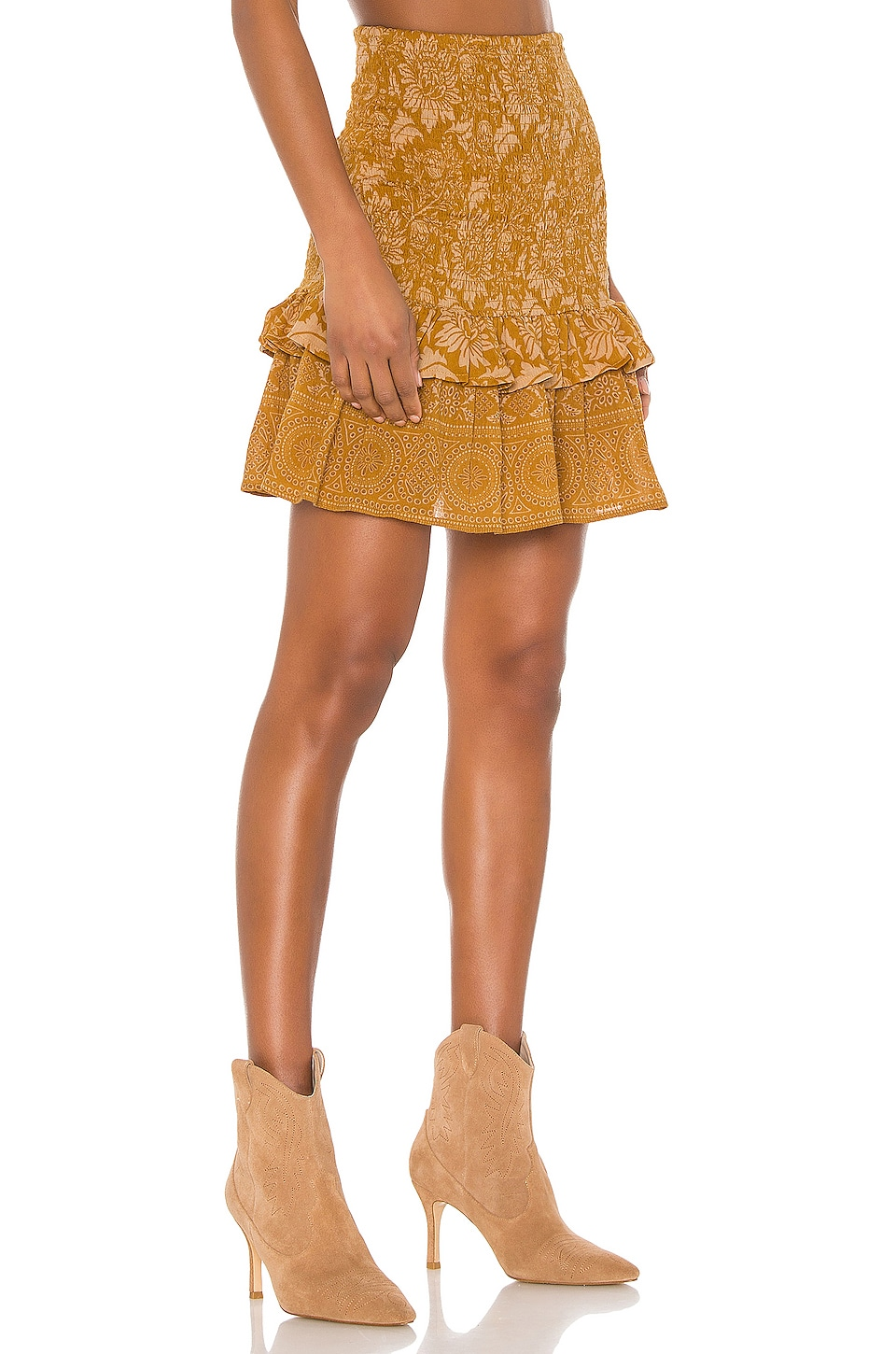 Spell & The Gypsy Collective Lioness Ruched Mini Skirt in Caramel