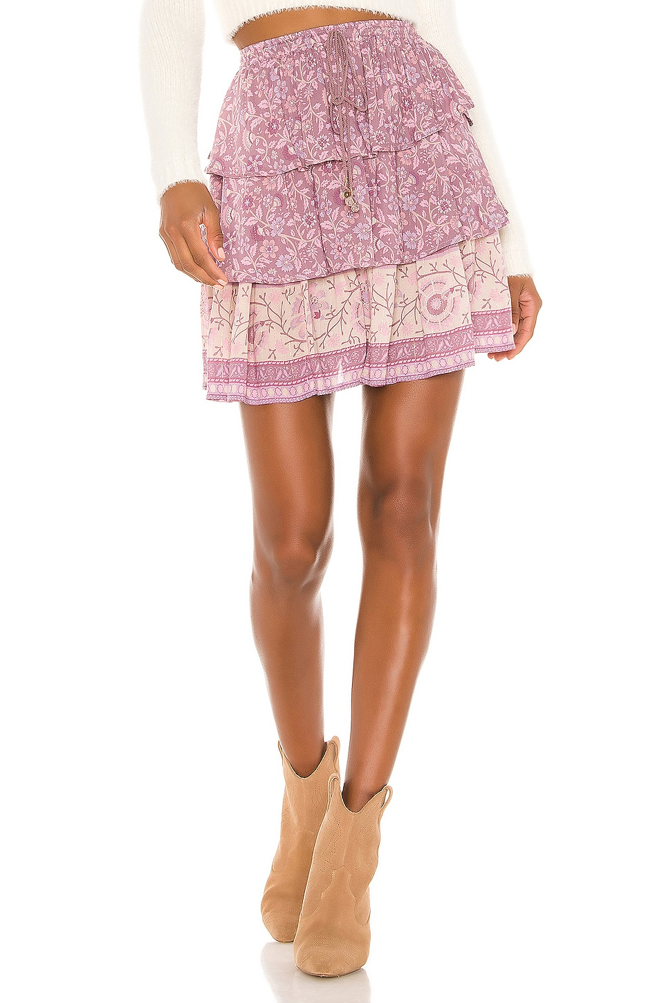 Spell & The Gypsy Collective Dahlia Ra Ra Mini Skirt in Mulberry