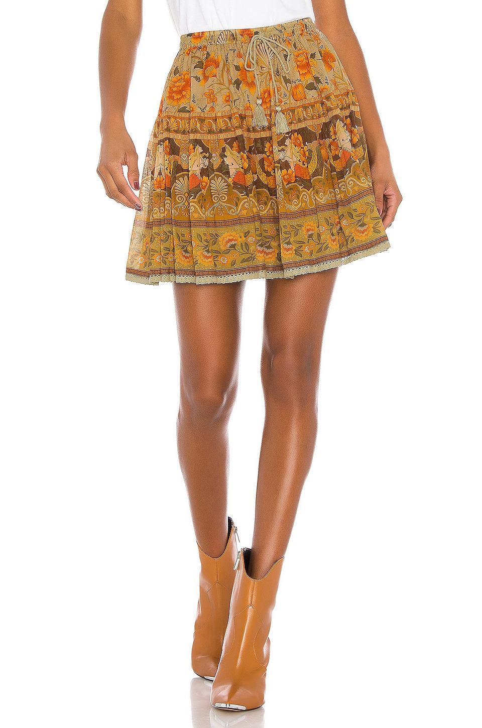 Spell & The Gypsy Collective Seashell Mini Skirt in Sand