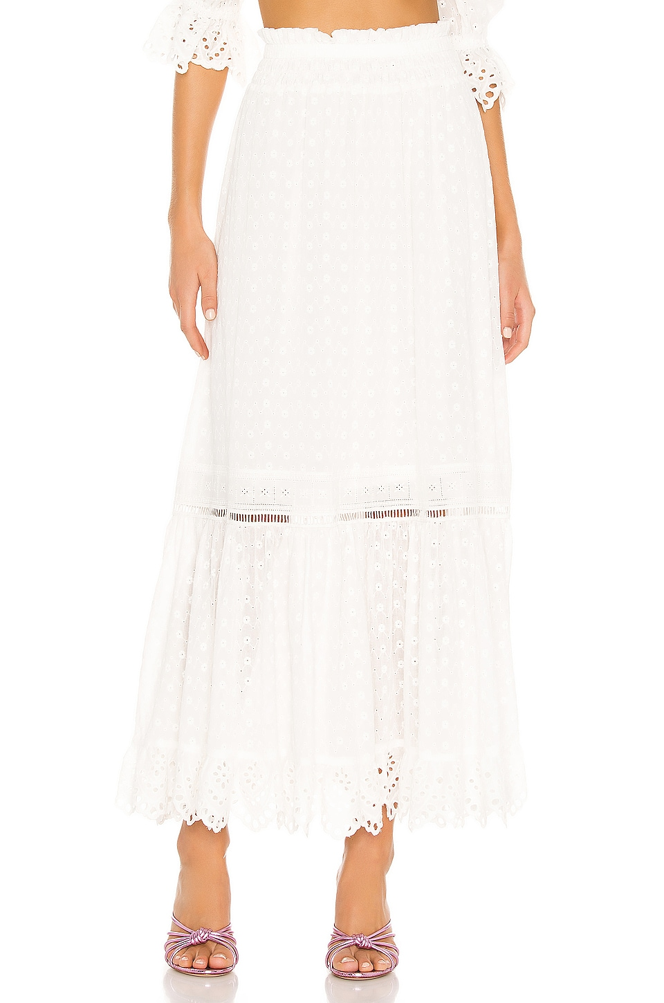 Spell & The Gypsy Collective Daisy Chain Maxi Skirt en White