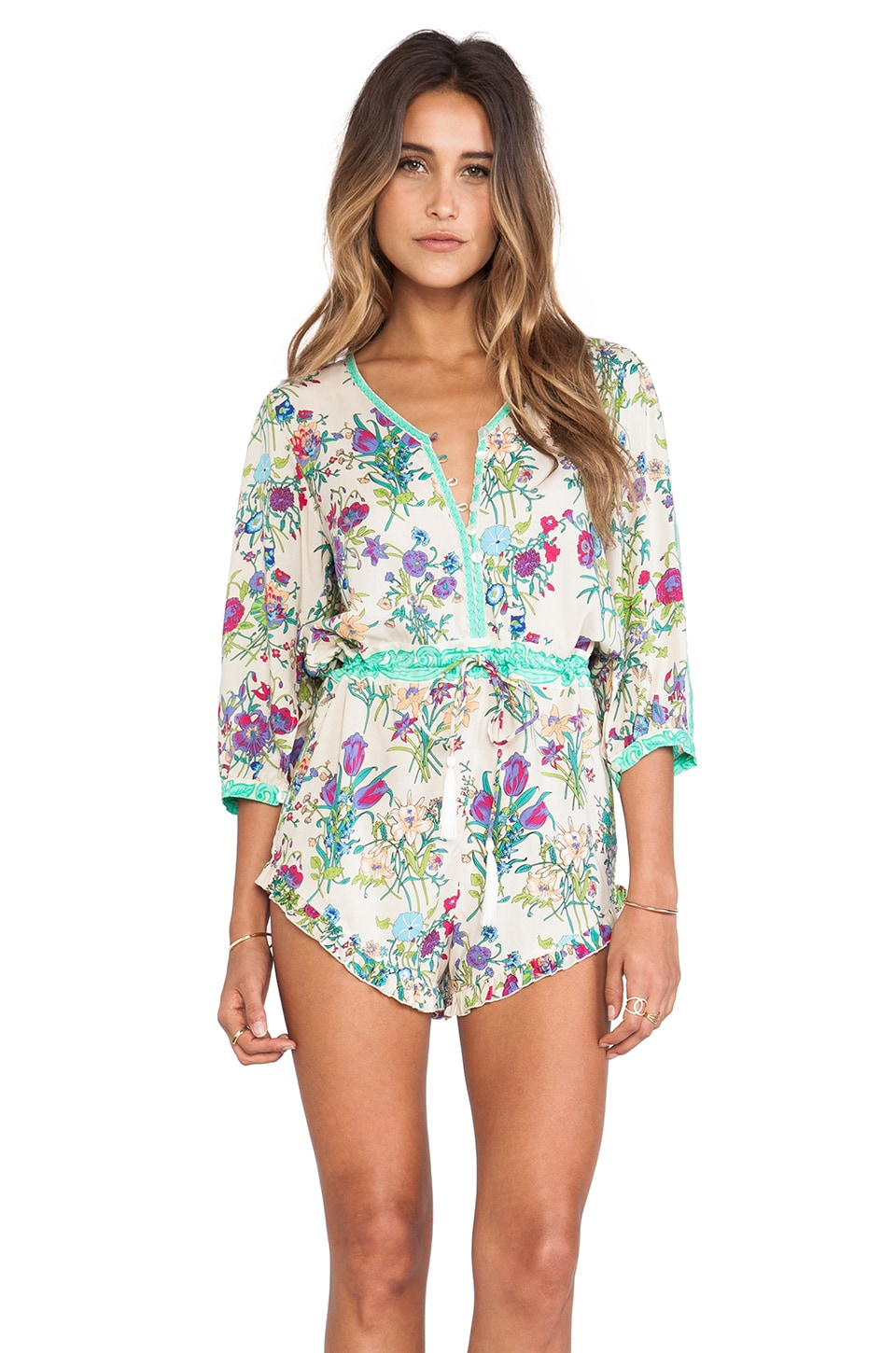 Spell & The Gypsy Collective Gypsy Queen Romper in Cream Floral