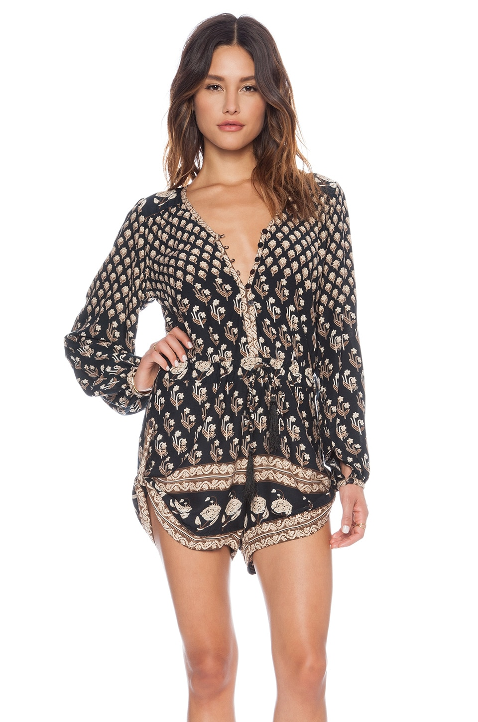 Spell & The Gypsy Collective Bohemian Royale Playsuit in Charcoal
