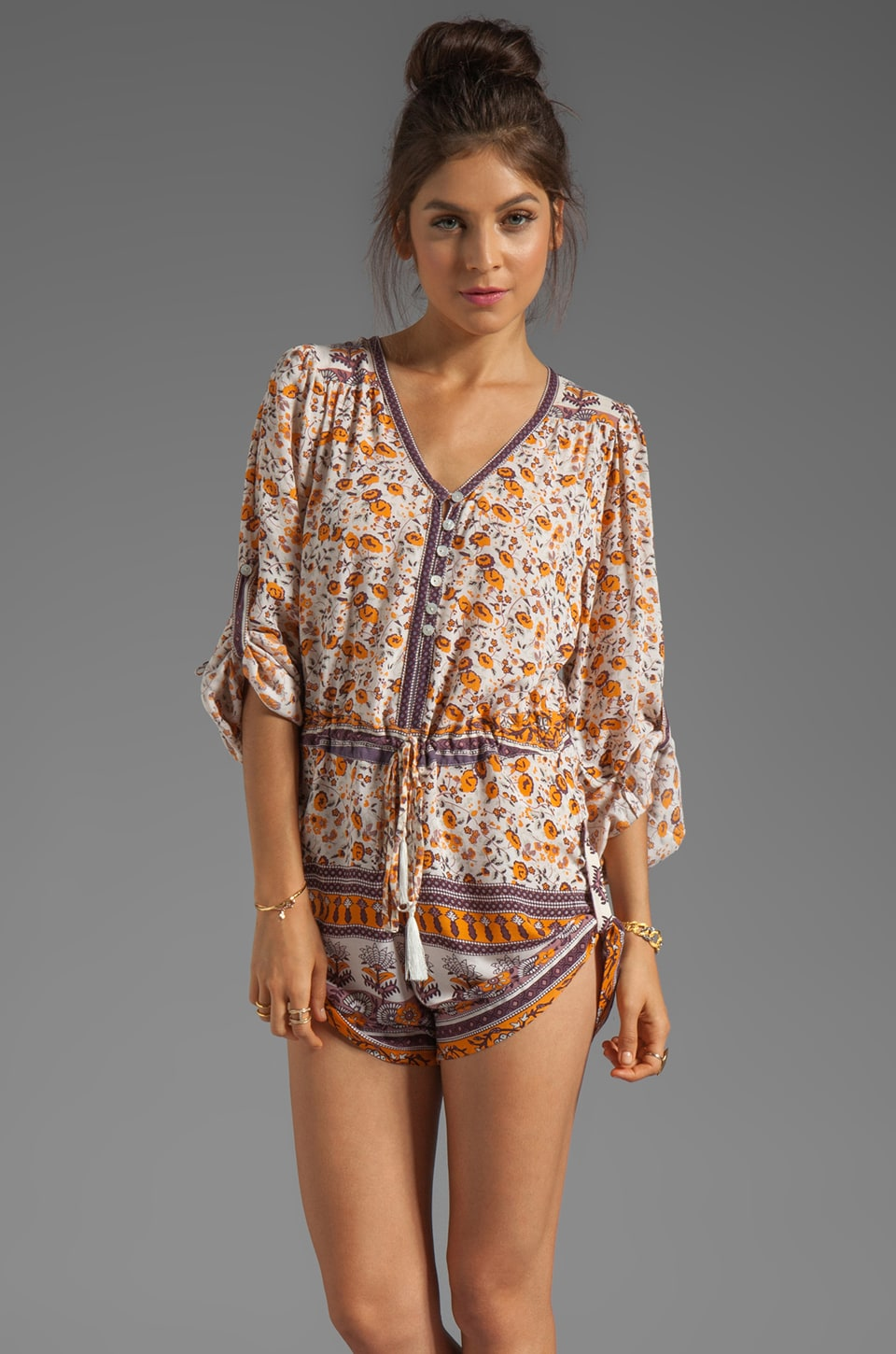 Spell & The Gypsy Collective Gypsy Love Playsuit in Orange Blossom