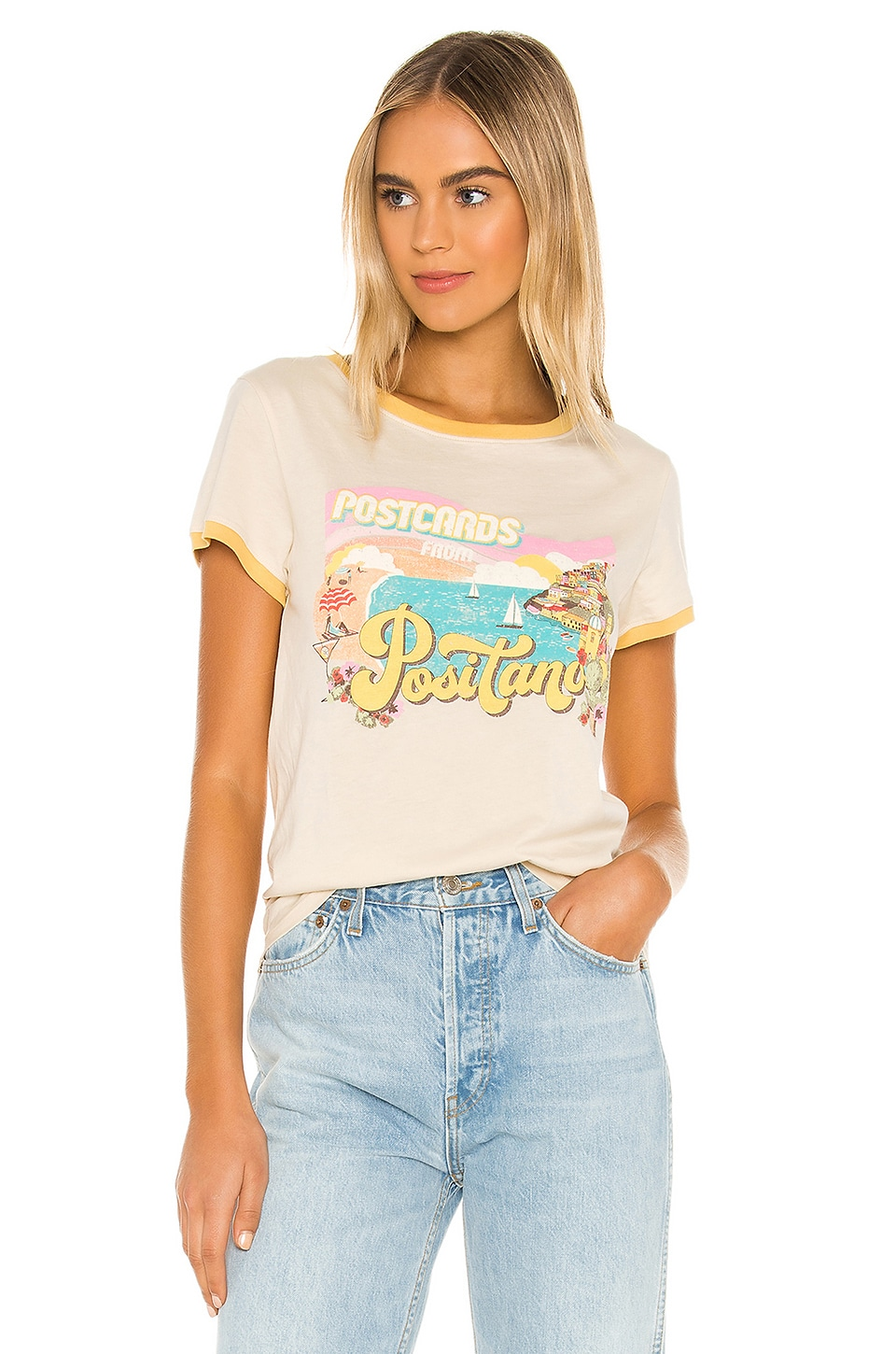 Spell & The Gypsy Collective Positano Girlfriend Tee in Cream