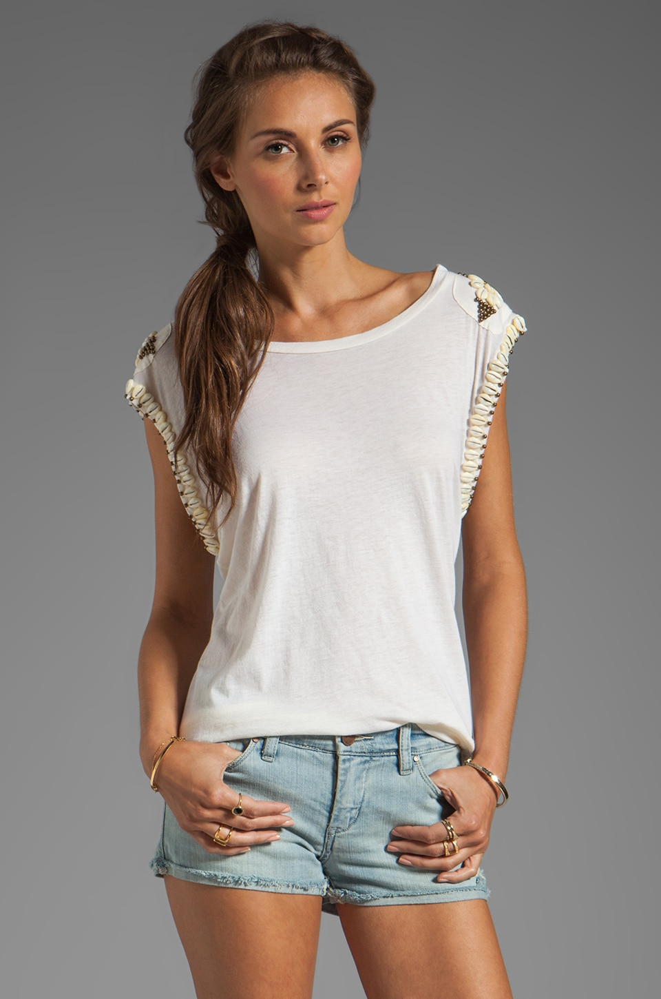 Spell & The Gypsy Collective Hanalei Cowrie Shell Tee in Cream