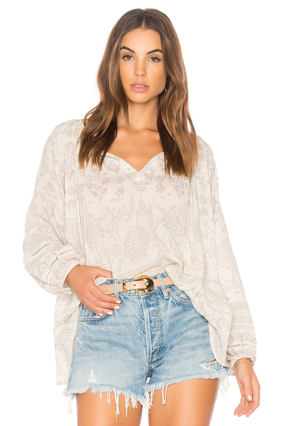 Spell & The Gypsy Collective Moroccan Luxe Blouse in Sand