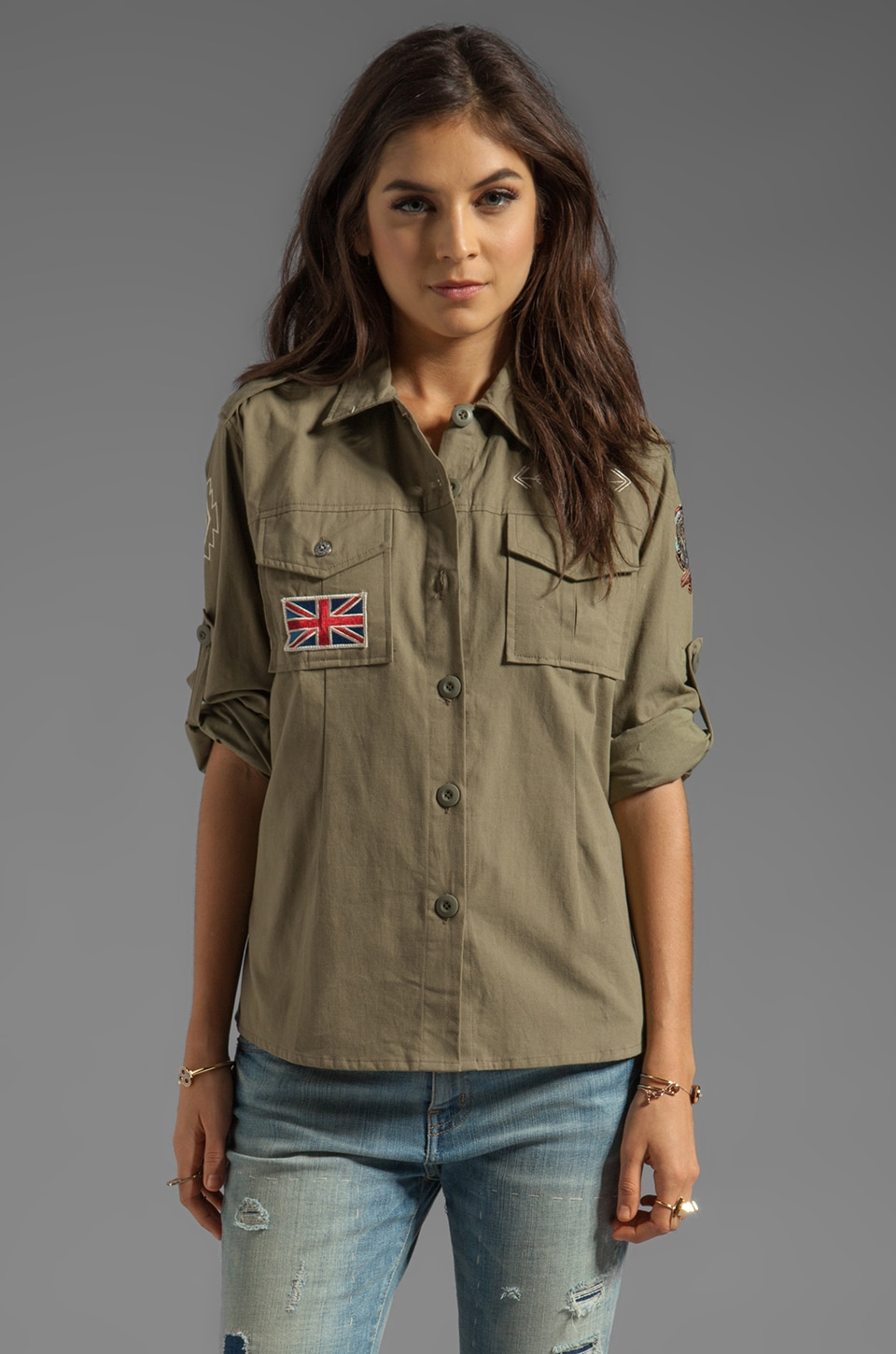 Spell & The Gypsy Collective Spell Vagabond Shirt in Army Plain