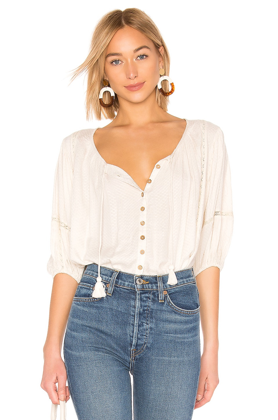Spell & The Gypsy Collective Lottie Veggie Dye Blouse in Cream