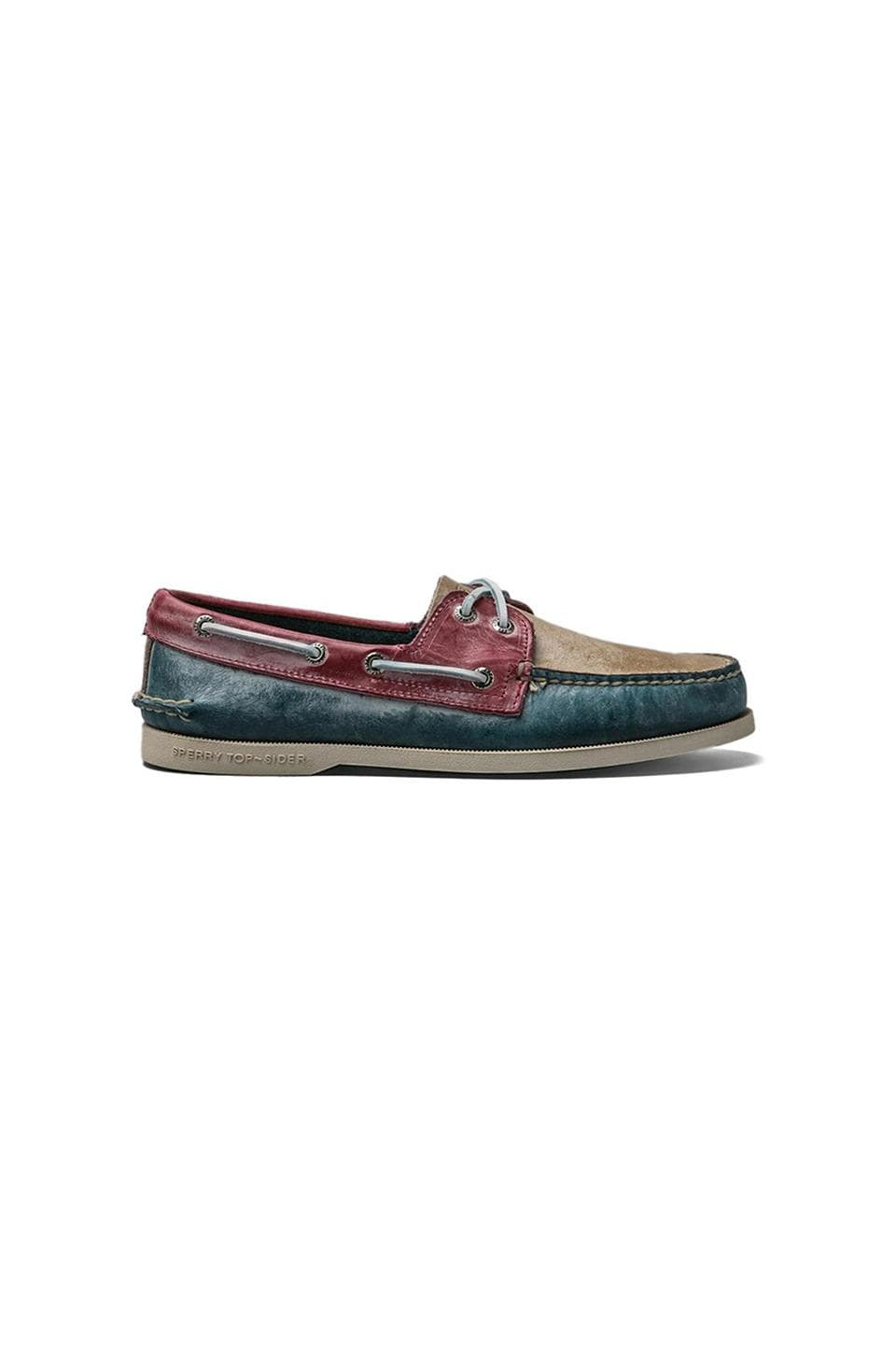 Sperry Top-Sider A/O 2-Eye White Wash en Blue/Tan/Red