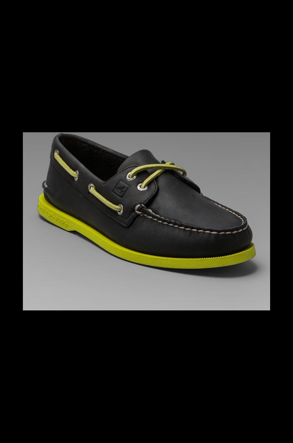 Sperry Top-Sider A/O 2-Eye Neon in Black/Neon Yellow