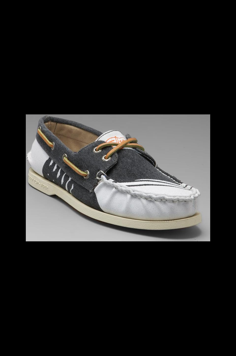 Sperry Top-Sider A/O 2-Eye Hand Painted in Rigger Navy/White